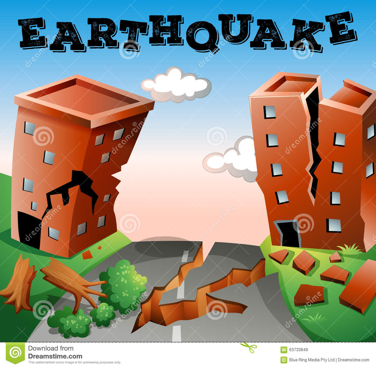 Natural Disaster Scene Of Earthquake Stock Vector - Image: 63733849