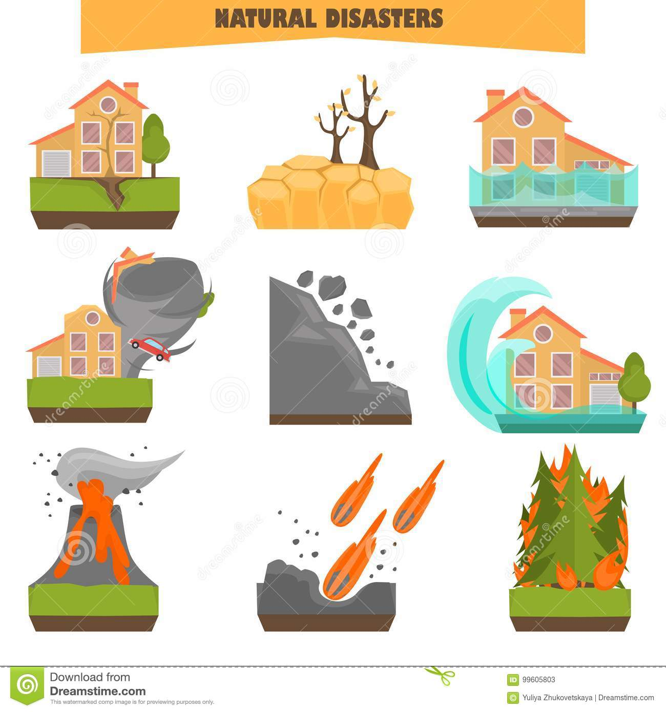Natural disasters color flat set. Vector illustrations