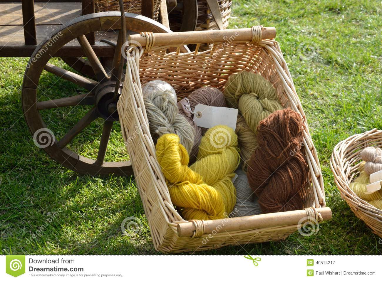 Natural dyed wool in basket