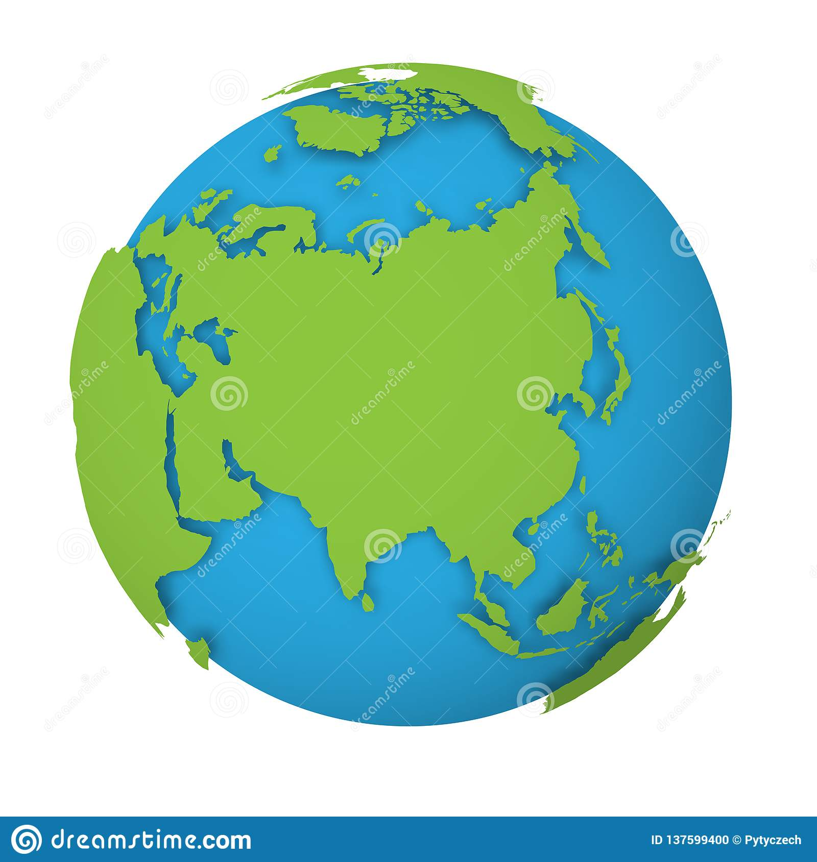 Natural Earth Globe. 3D World Map With Green Lands Dropping Shadows ...
