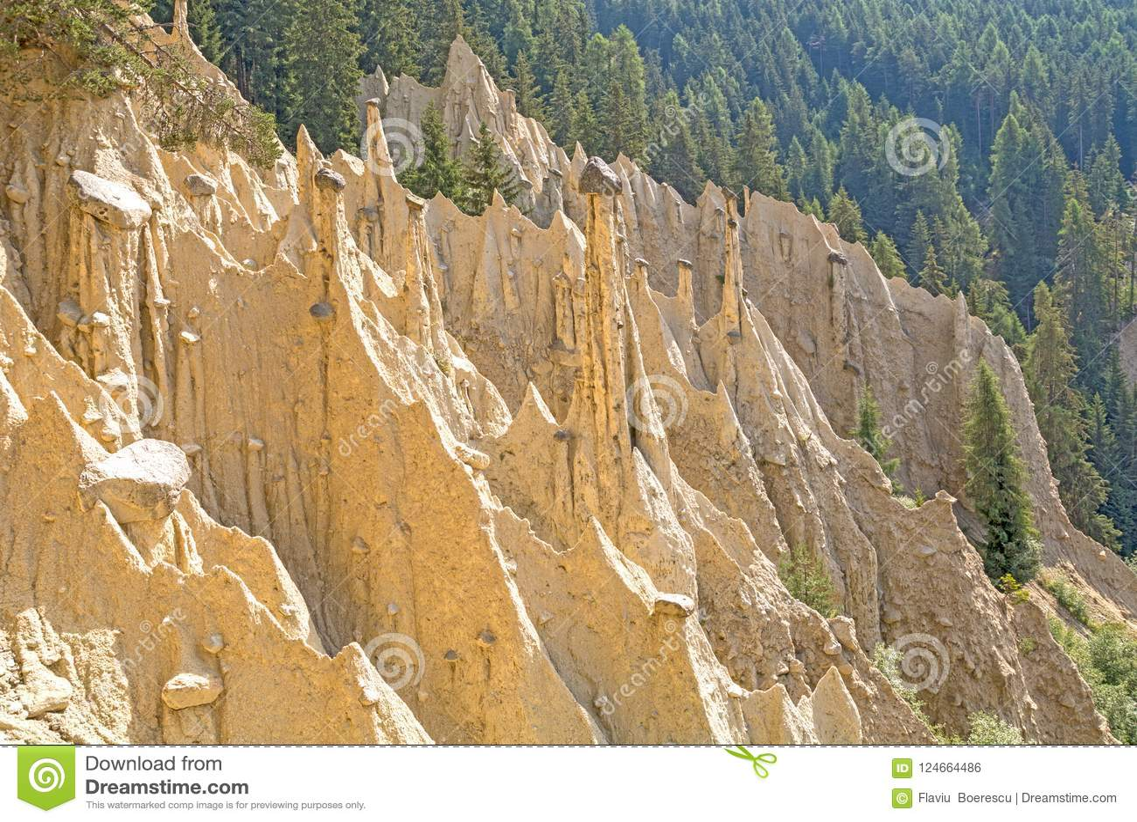 Natural Earth Pyramids stock photo  Image of phenomenon - 124664486