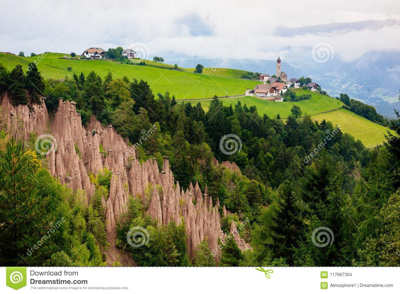 Natural Earth Pyramids In Renon, Ritten, South Tyrol, Italy