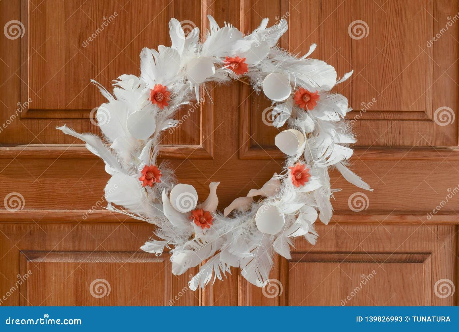 Natural Easter wreath on the door