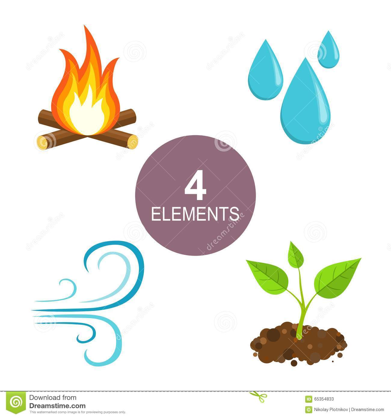 Natural Elements Fire Water Air And Earth Stock Vector