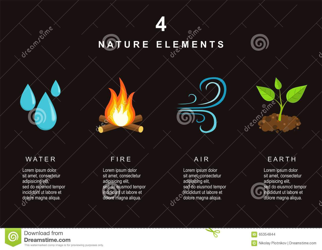 Natural Elements Water Fire Air And Earth Stock