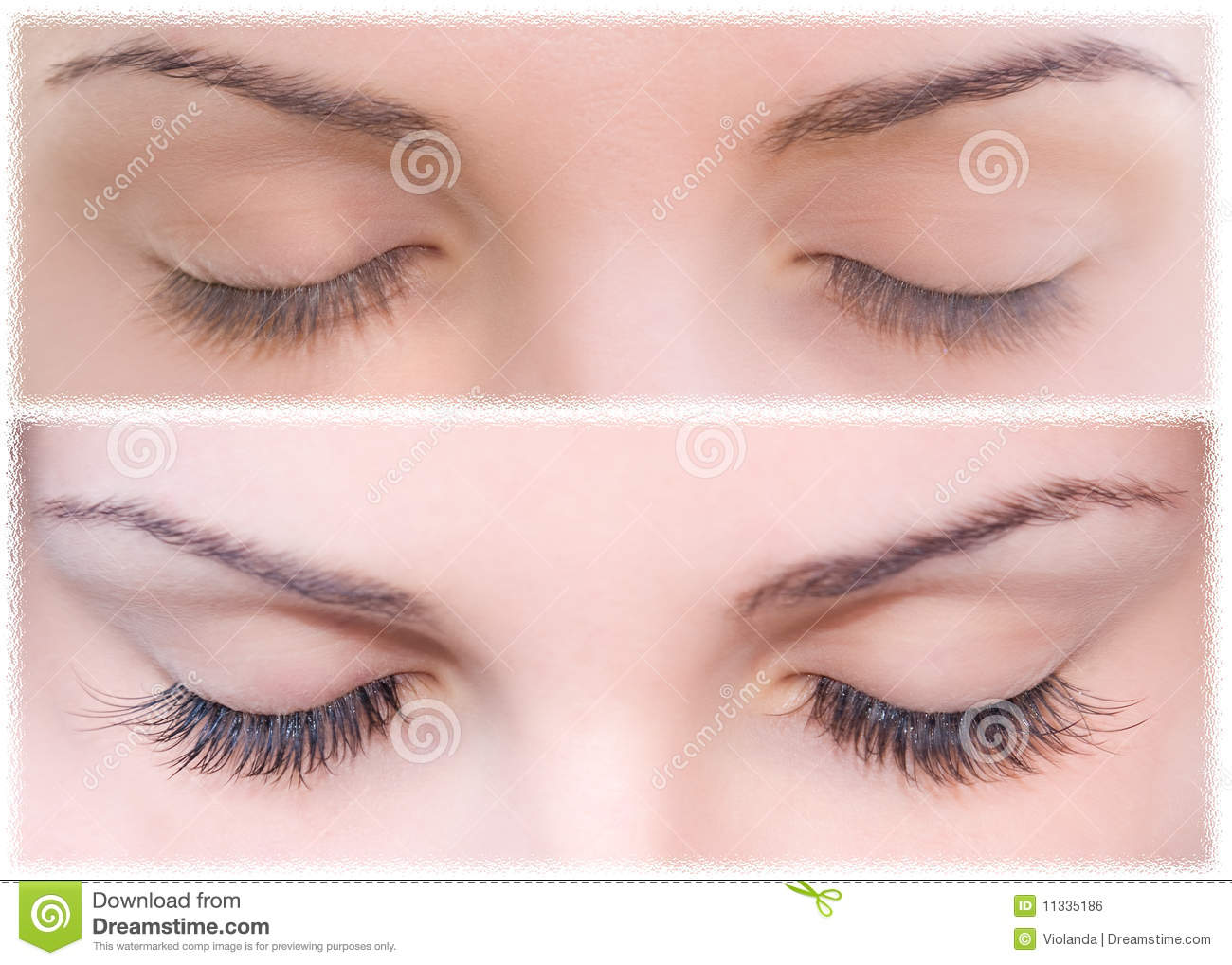 Natural And False Eyelashes Before And After Stock Photo Image Of