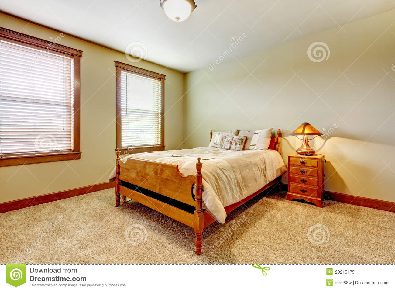 Natural Farm House Bedroom With Beige Carpet And Green