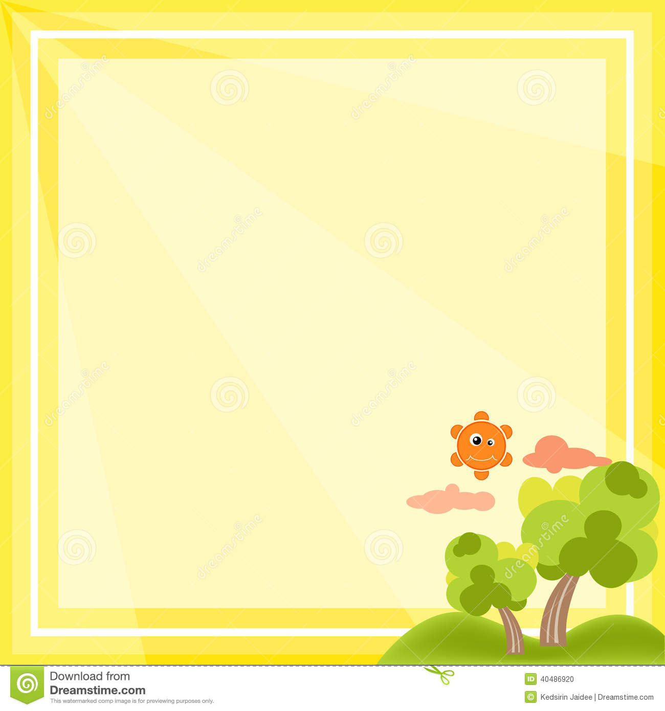 natural frame cartoon vector on yellow background - Natural Frame