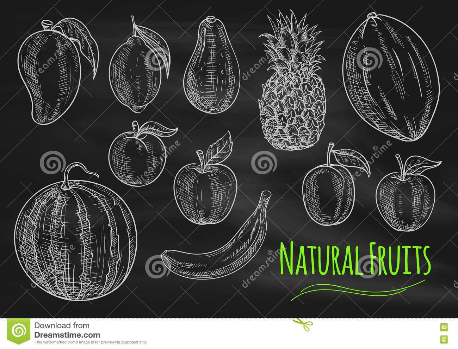 Natural Fresh Fruits Chalk Sketch On Chalkboard Stock Vector