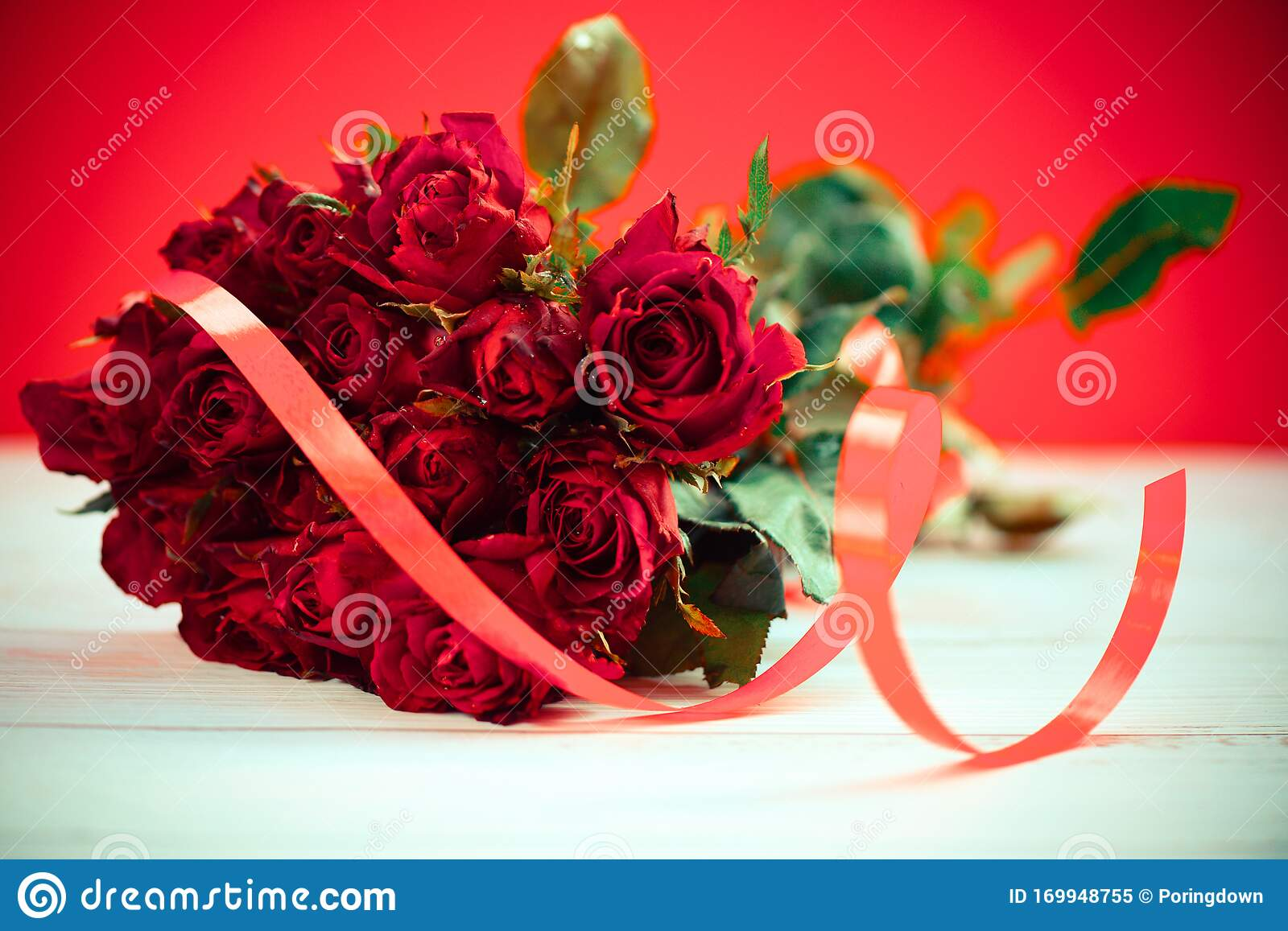 Natural Fresh Red Roses Flower Bouquet With Ribbon Close Up Rose Background Flowers Romantic Love Valentine Day Concept Stock Image Image Of Marriage Beautiful 169948755