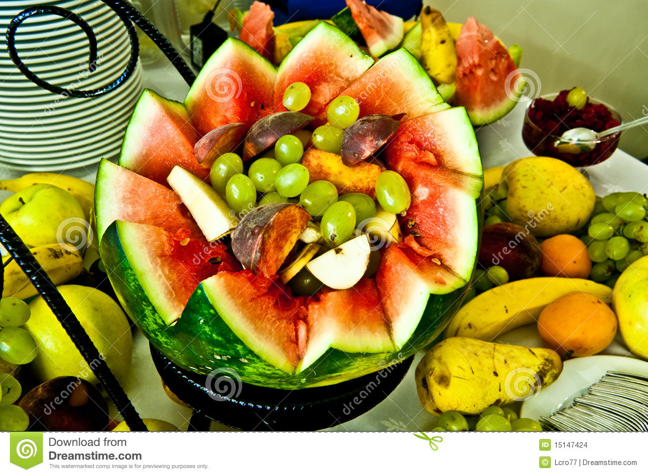 Fruits mix decoration for events stock photo image of for Decoration fruit