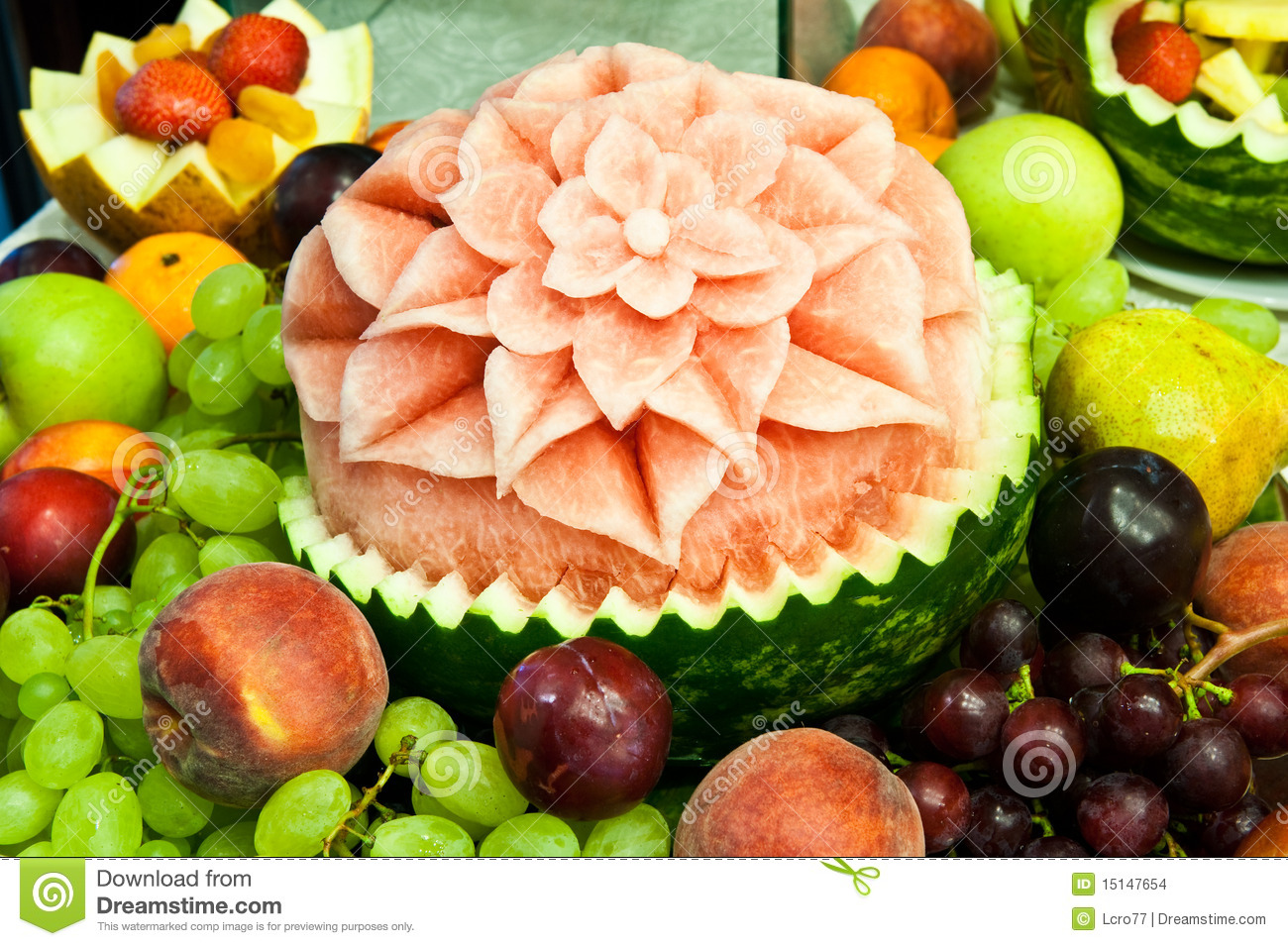 Natural fruits decoration watermelon decorated stock for Decoration salade de fruits