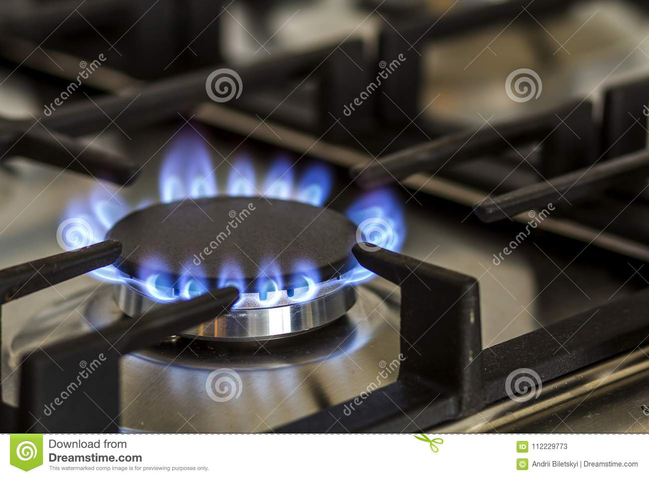 Natural gas burning on kitchen gas stove in the dark. Panel from steel with a gas ring burner on a black background, close-up shoo