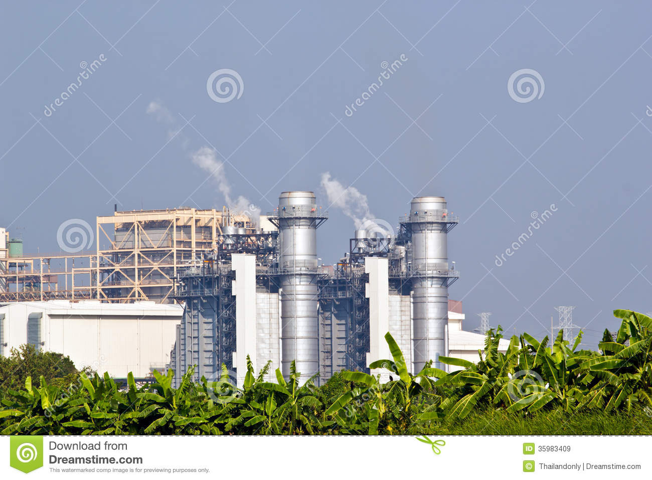 Natural Gas Combined Cycle Power Plant Royalty Free Stock