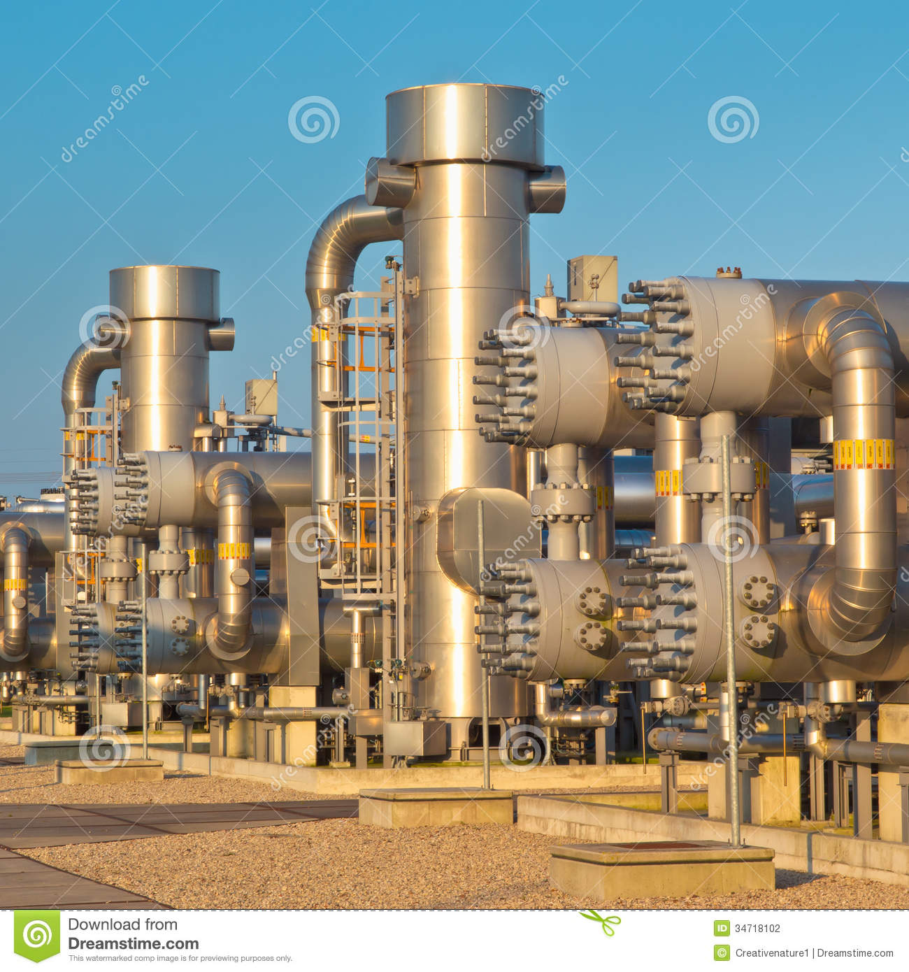 Natural Gas Processing Site Stock Photo Image Of