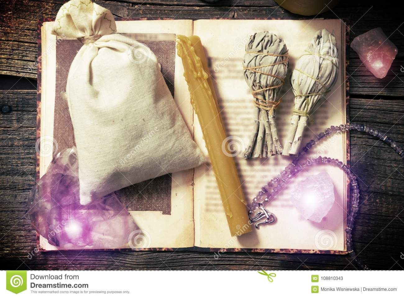 Natural Rocks And White Sage Witchcraft Tools Stock Image