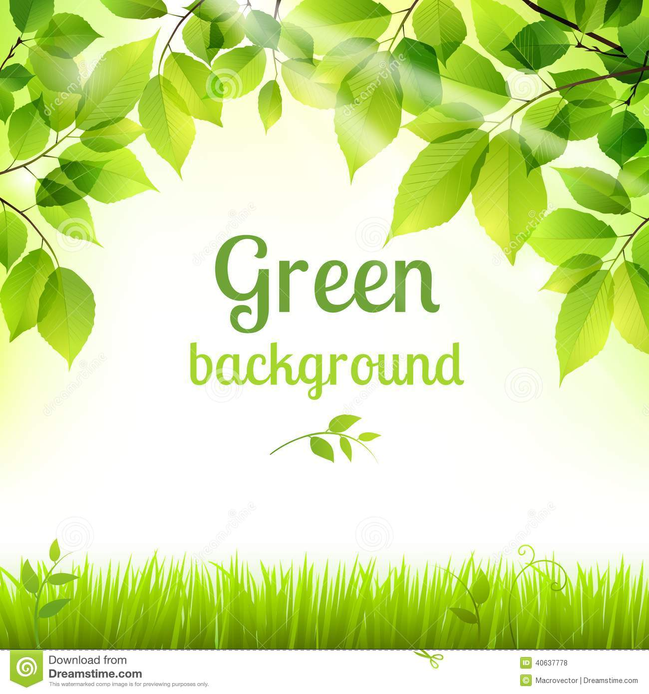 Natural Green Fresh Foliage Background Stock Vector