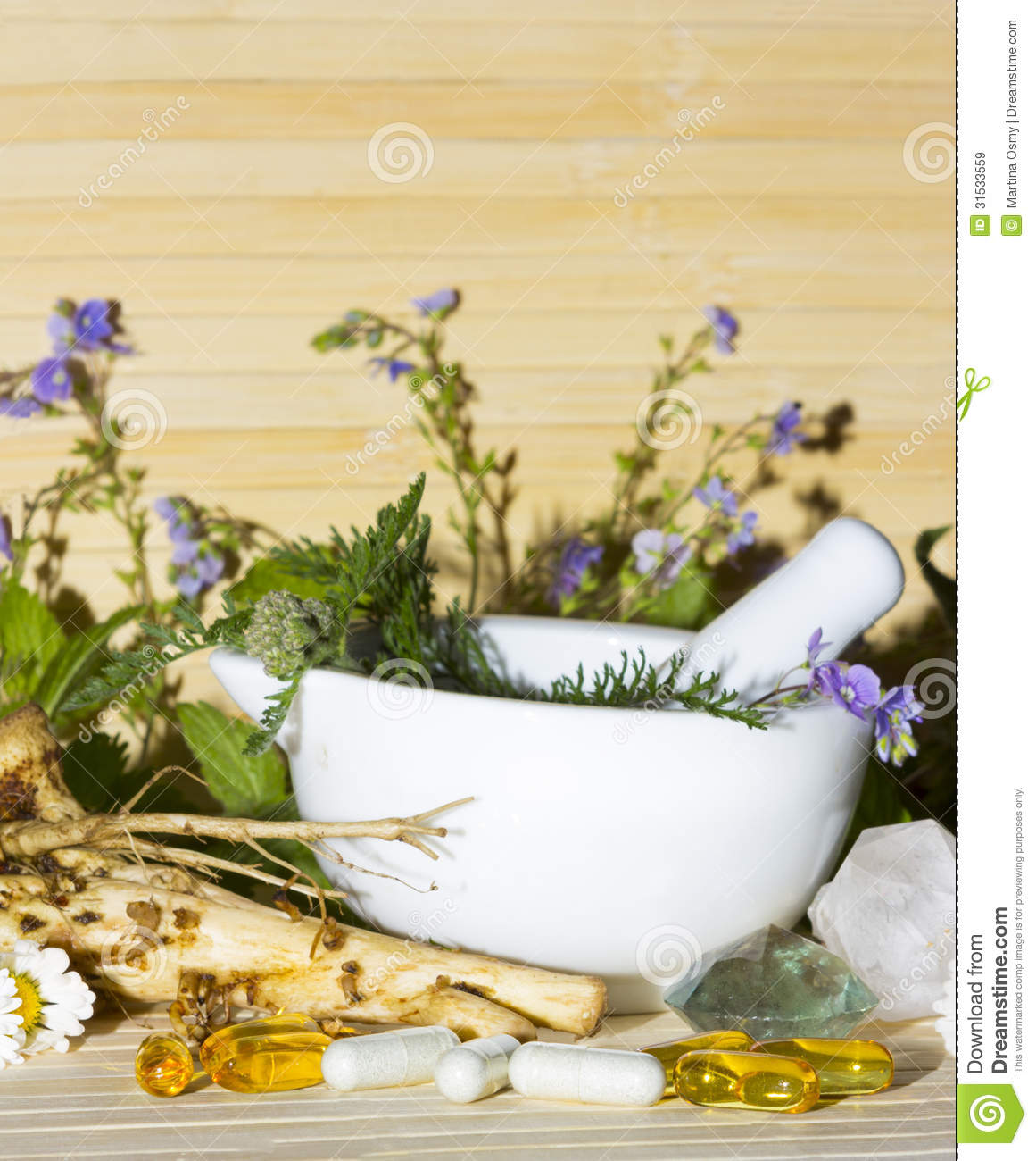 Natural Herbal Remedies And Supplements Stock Image - Image