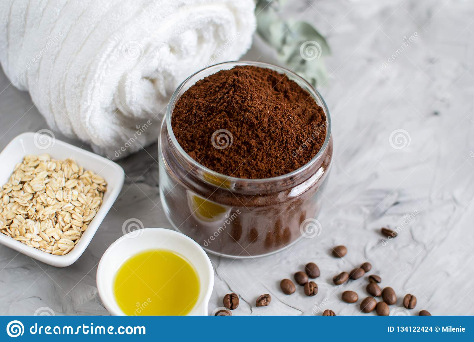 Natural Ingredients for Homemade Body Chocolate Coffee Oatmeal Sugar Scrub Oil Beauty SPA Concept