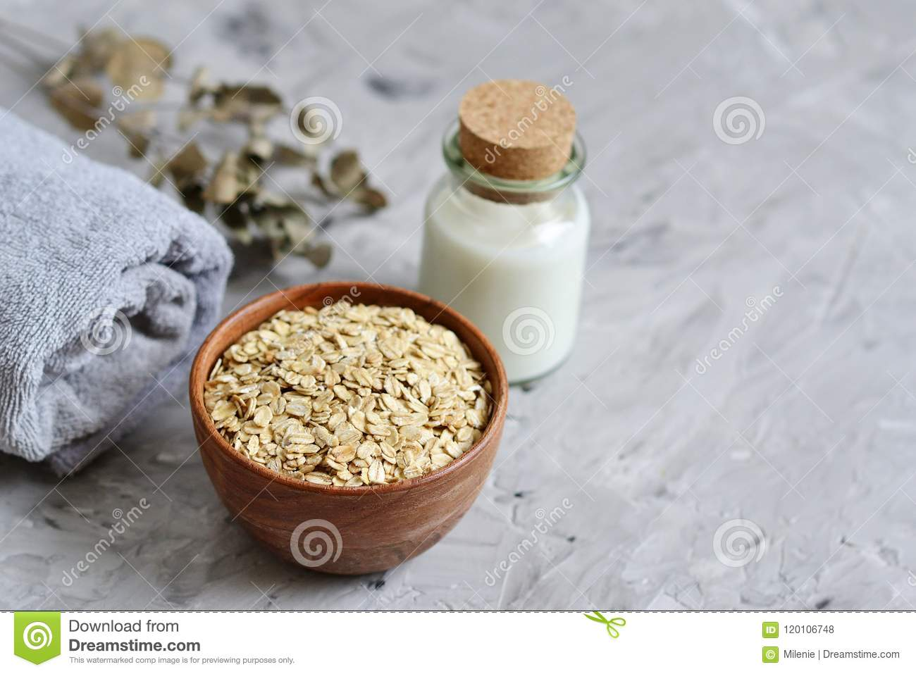 Natural Ingredients for Homemade Oatmeal Milk Body Face Scrub Beauty Concept