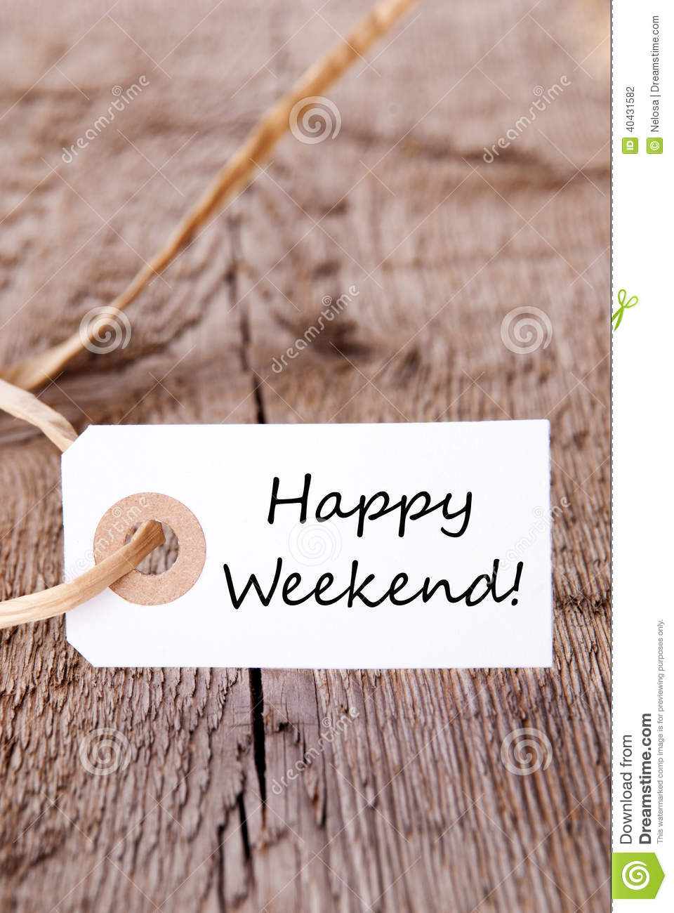 natural label with happy weekend stock photo