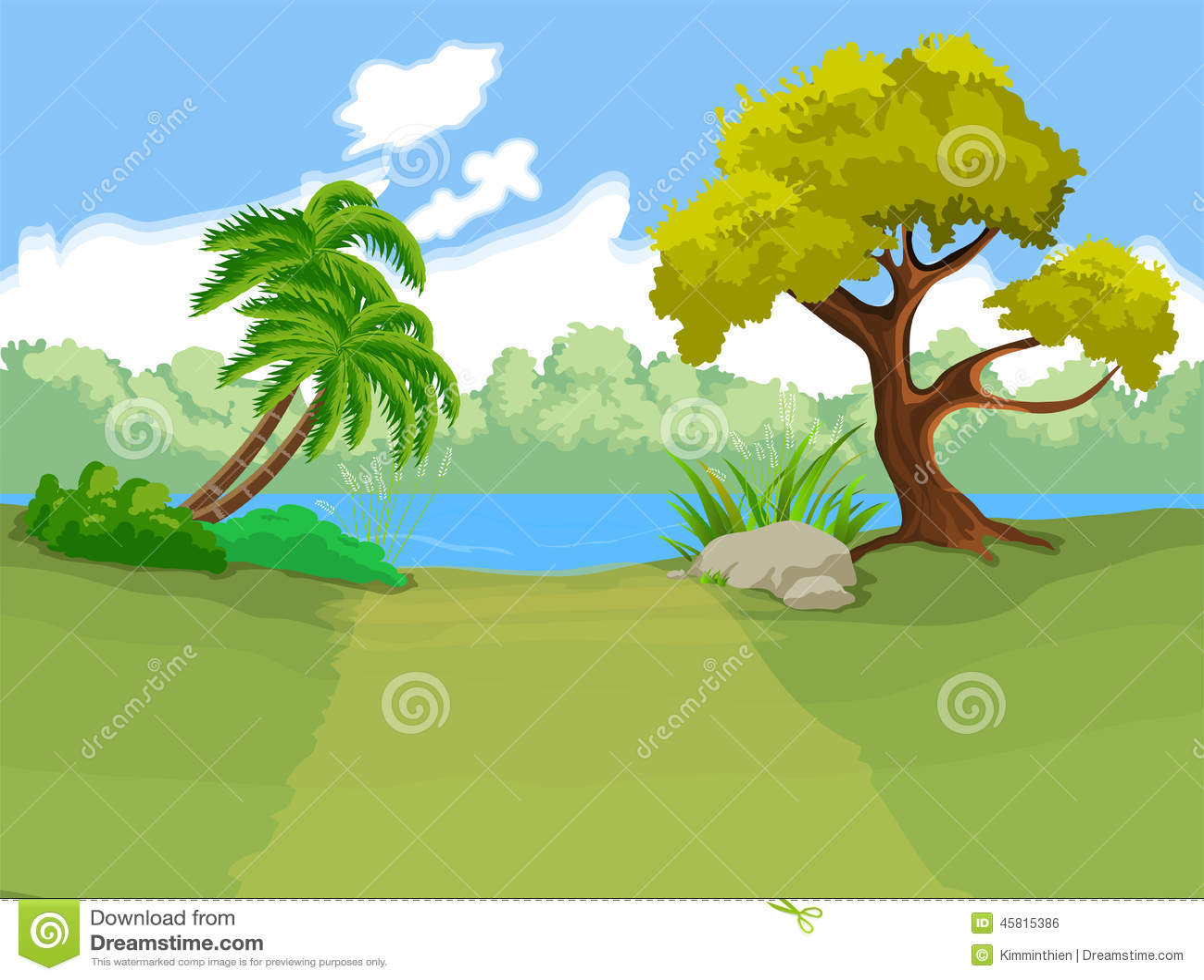 Fondo Animado Campo Parque Full Hd Animate Background: The Natural Landscape Cartoon Background Stock Vector