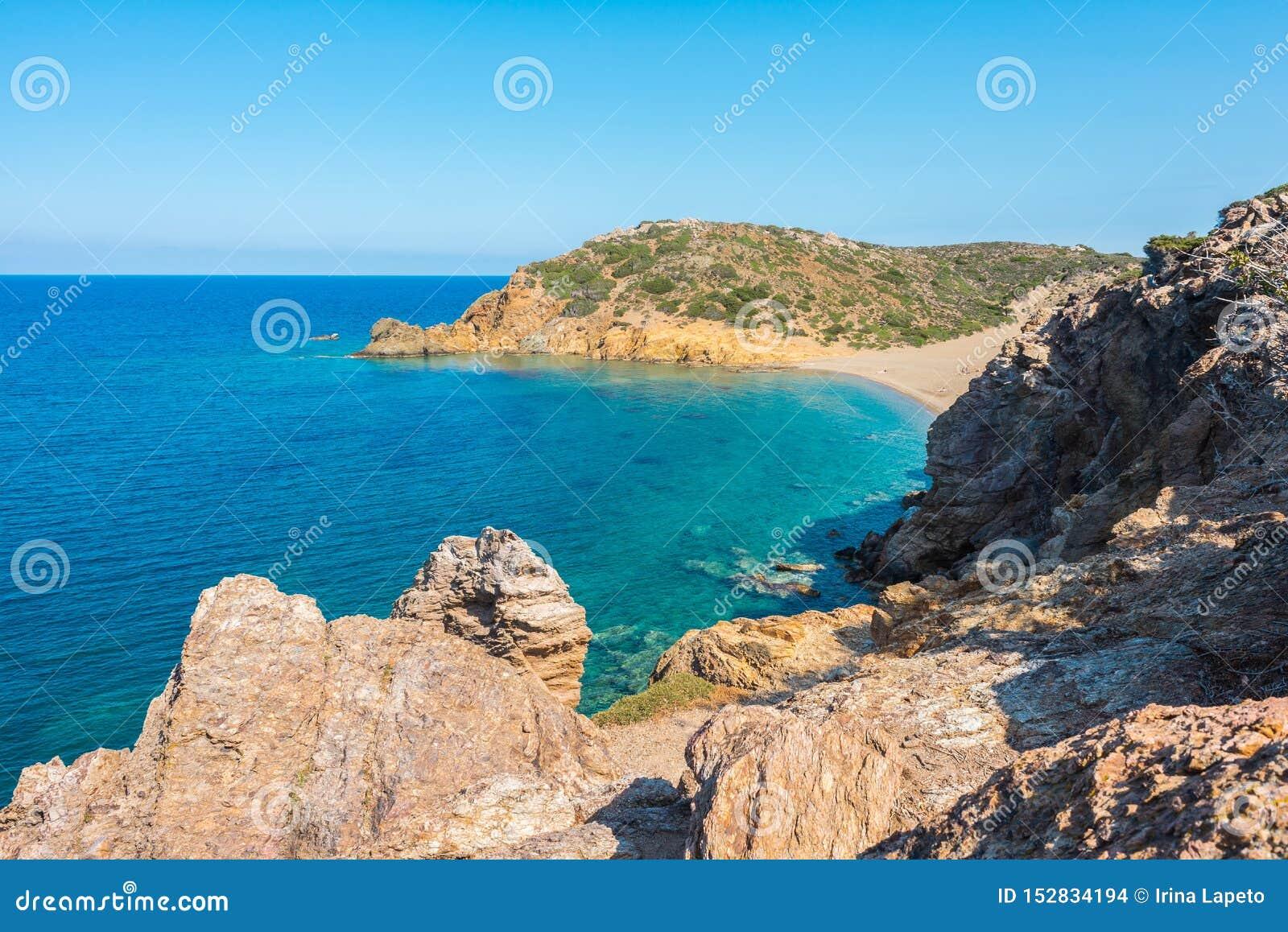 Natural Landscape On The Crete Island Greece Vai Beach