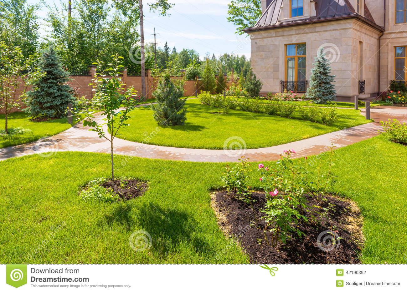 Natural landscaping in home garden stock photo image for Holistic house