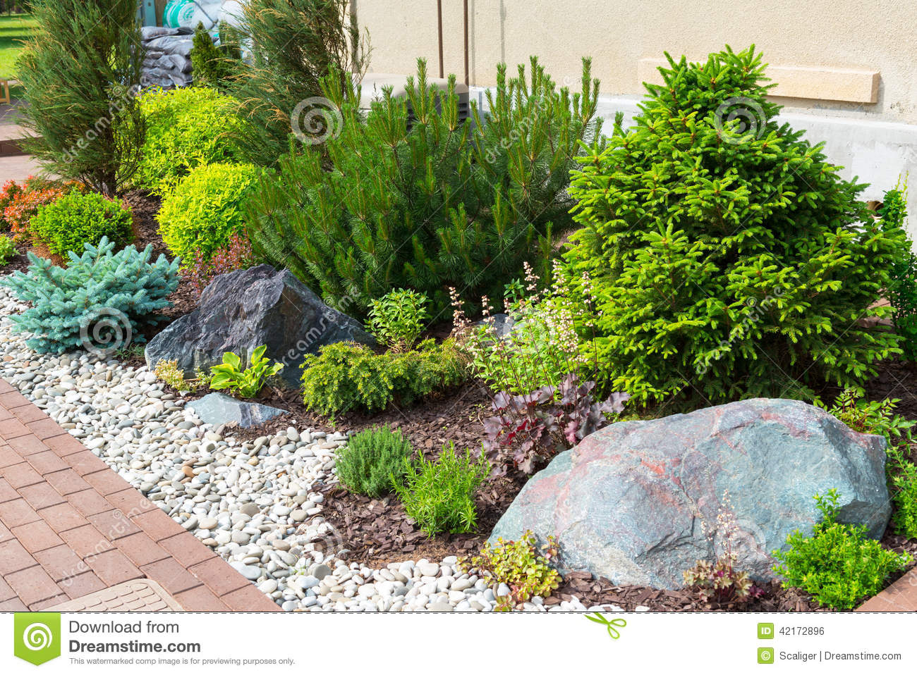 Natural Landscaping In Home Garden Stock Photo Image