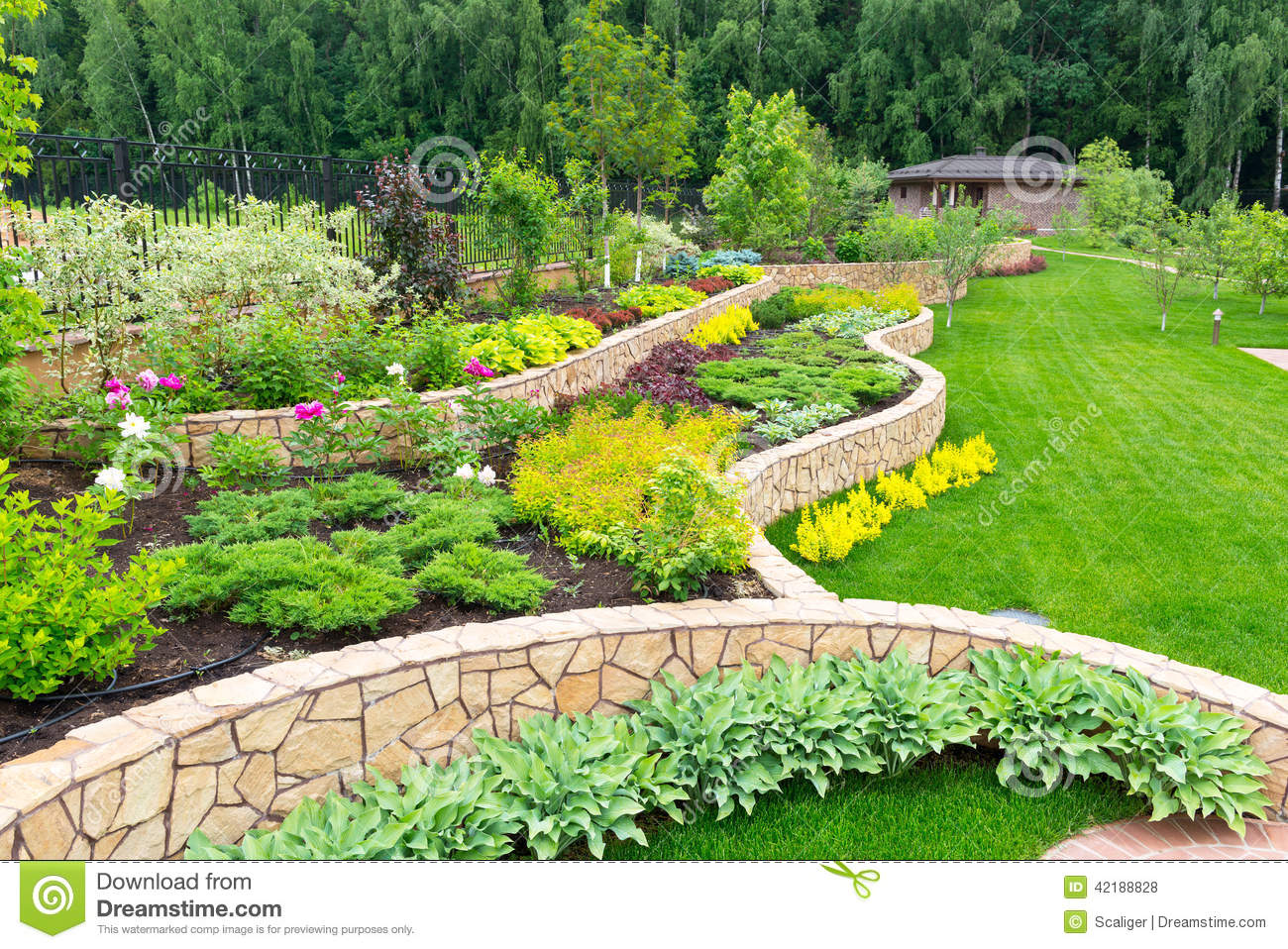 Natural landscaping in home garden stock photo image for House backyard landscape