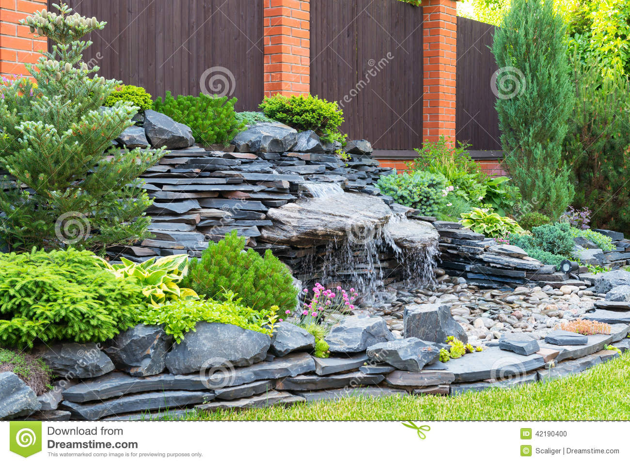 Natural Landscaping In Home Garden. House, Design.