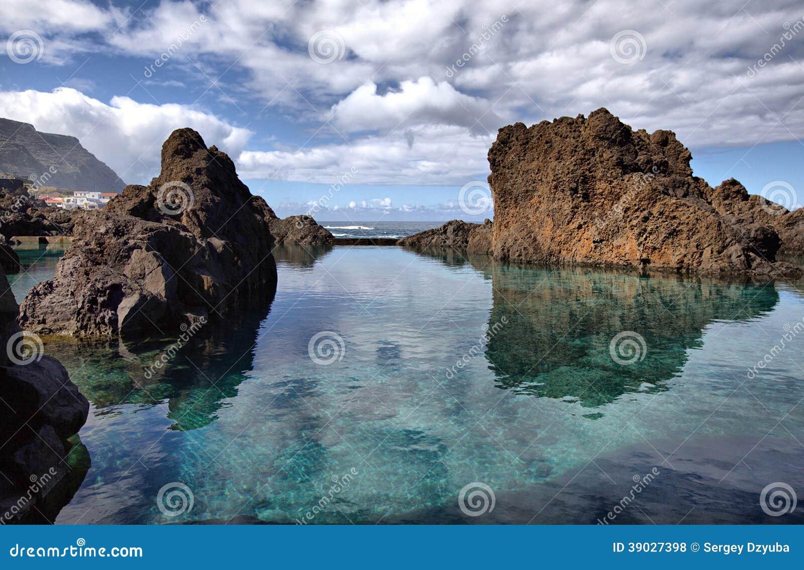 Natural lava rock pools in porto moniz madeira stock - Natura portugal ...