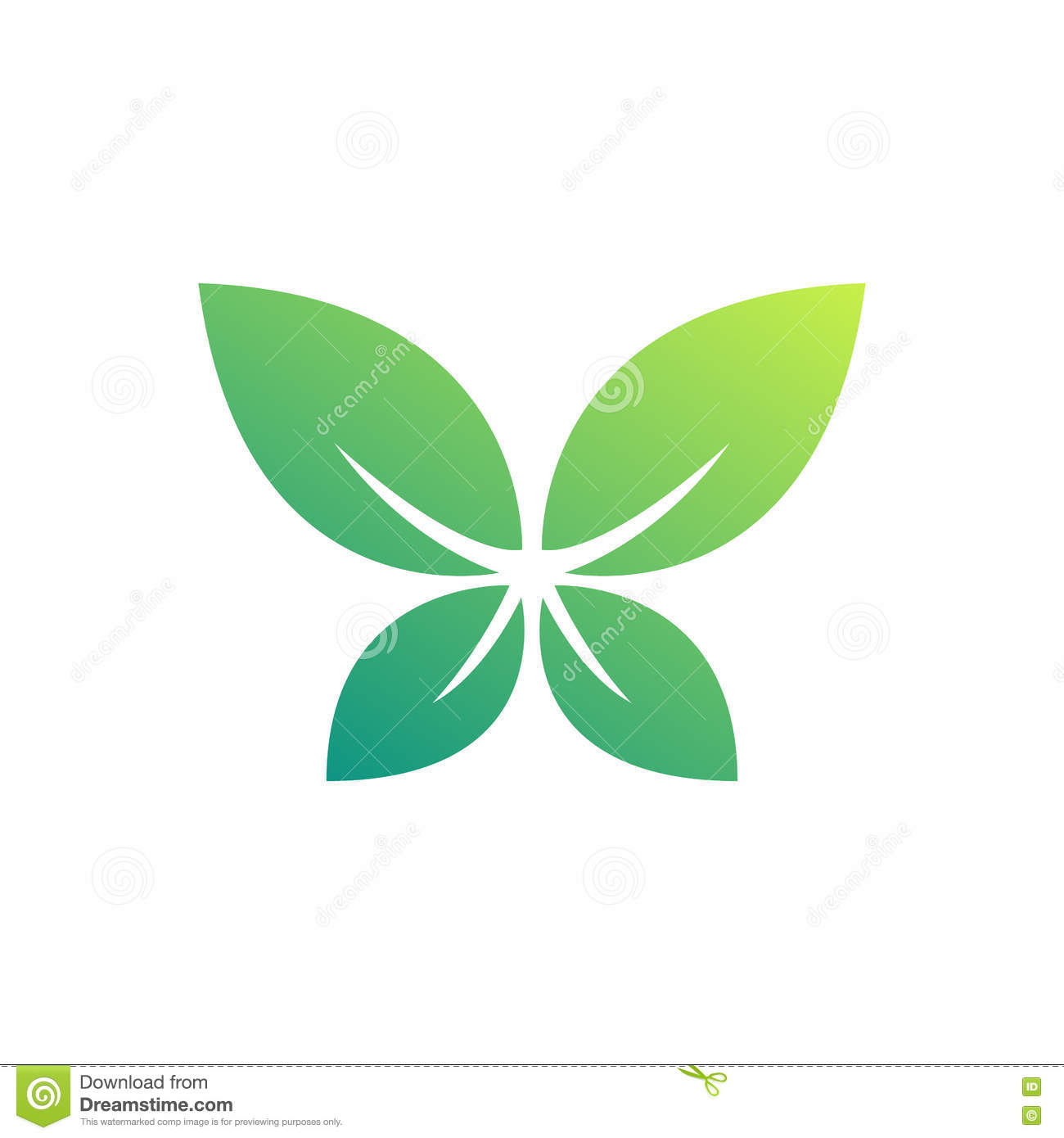 Natural Leaf Symbol Shaped Like Butterfly Stock Vector