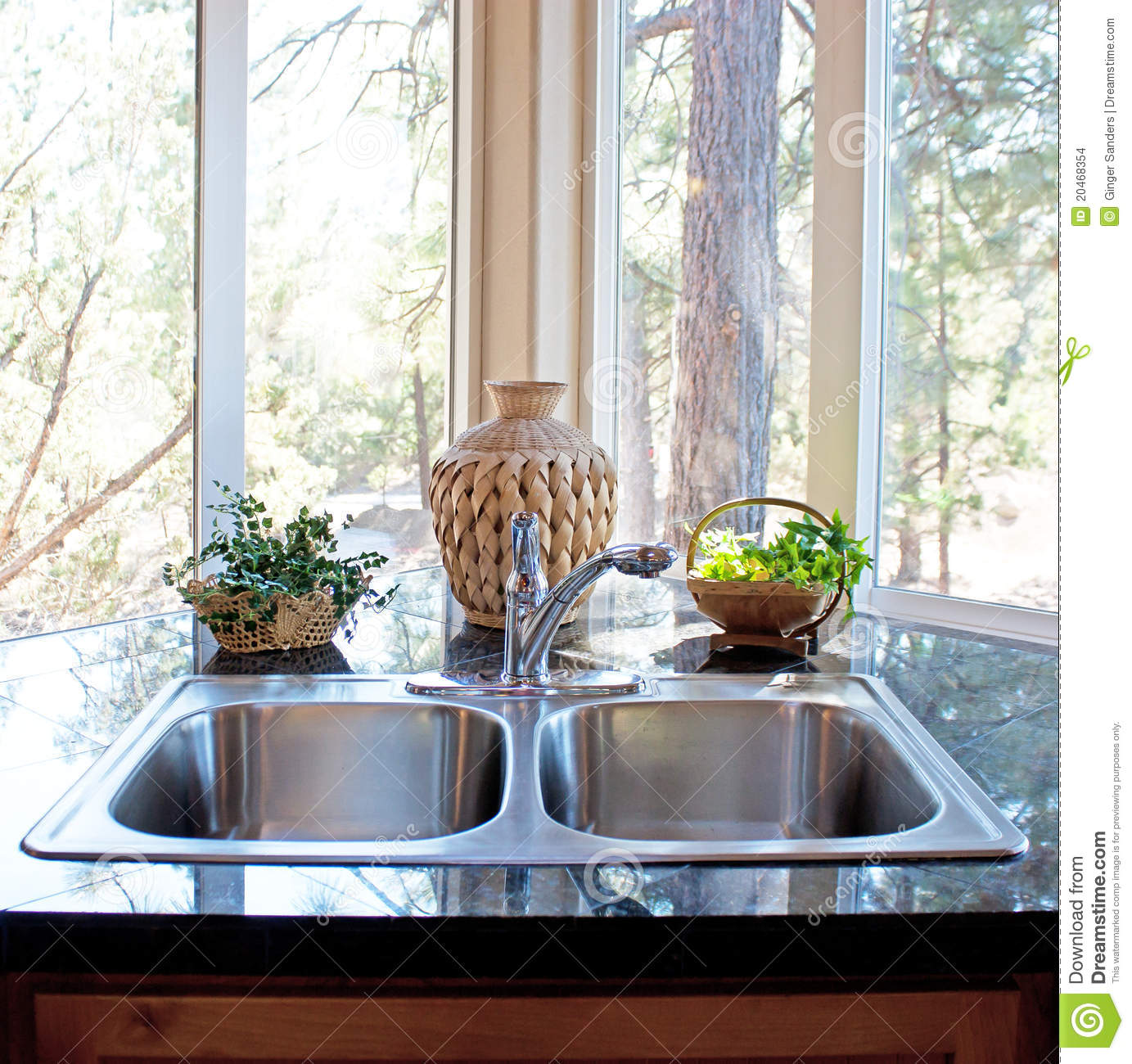 Natural Lighting Stainless Kitchen Window And Sink Stock Photo