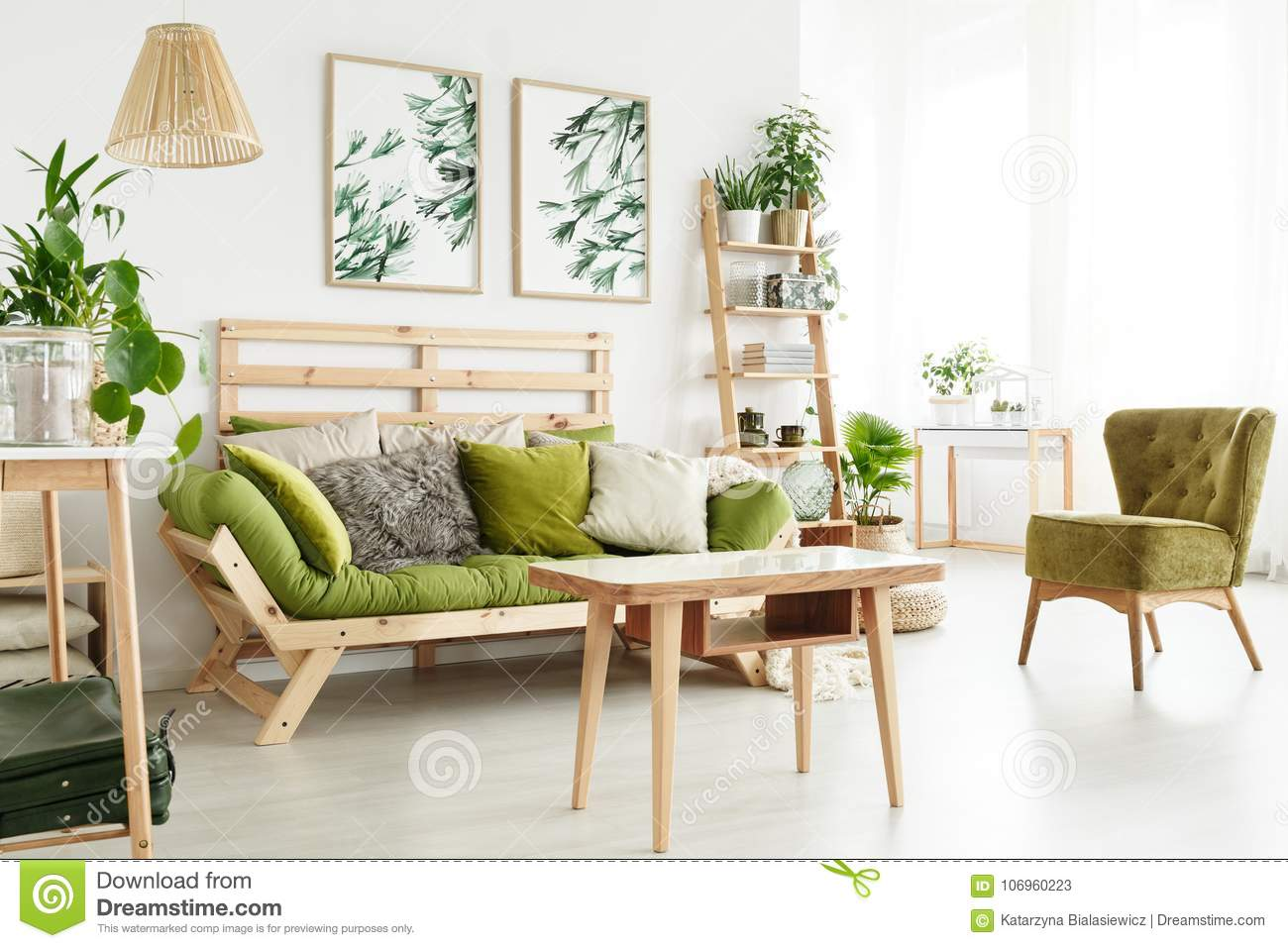 Natural Living Room With Plants Stock Image - Image of sofa, natural ...