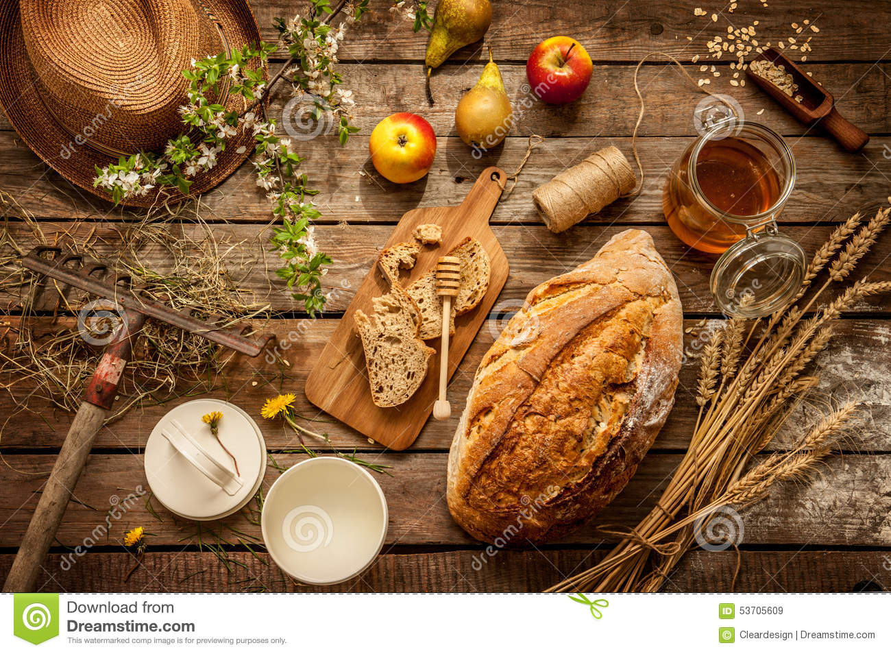 Natural local food products on vintage wooden table