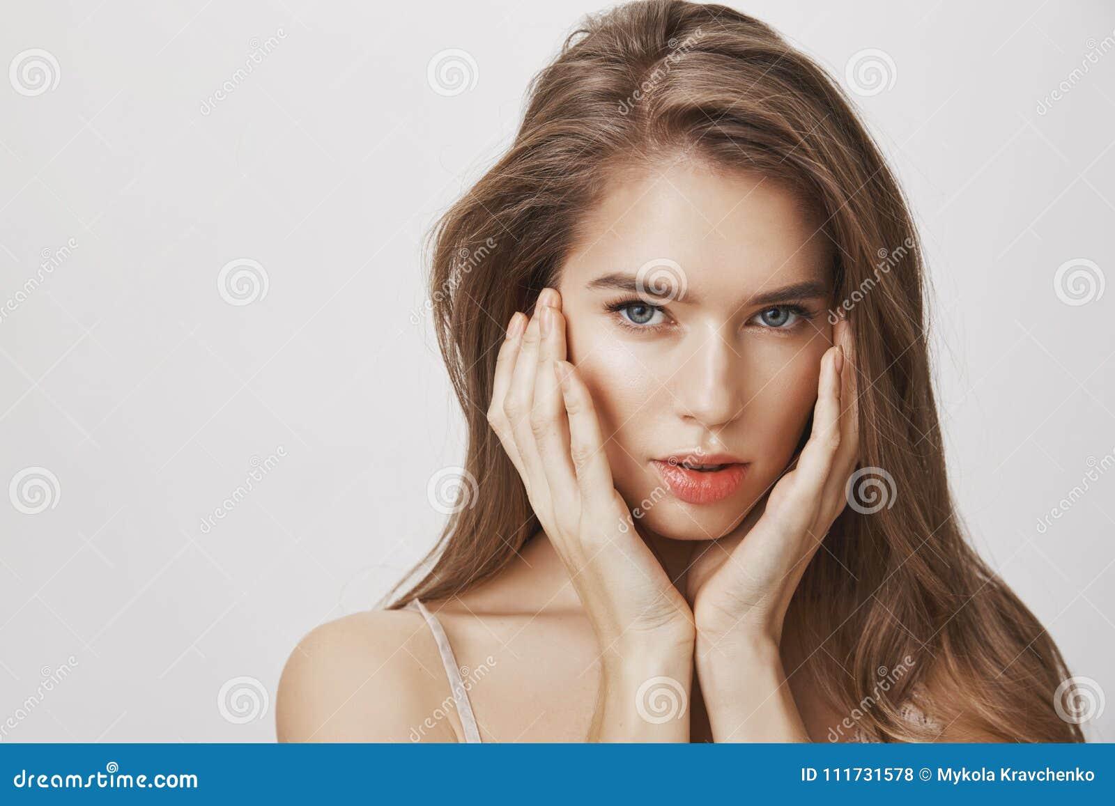 Attractive facial features woman