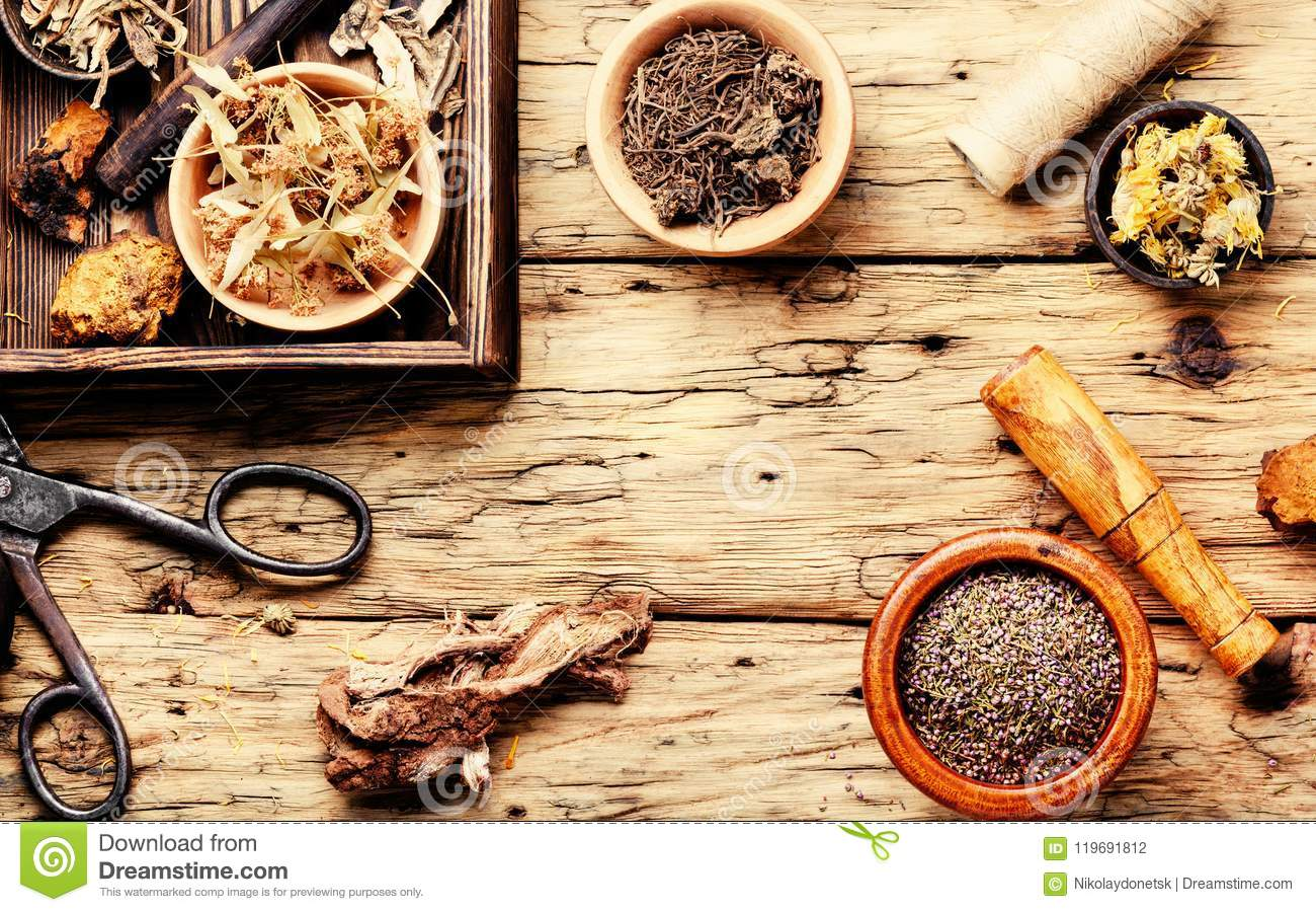 Natural Medicine, Herbs And Plant Stock Photo - Image of