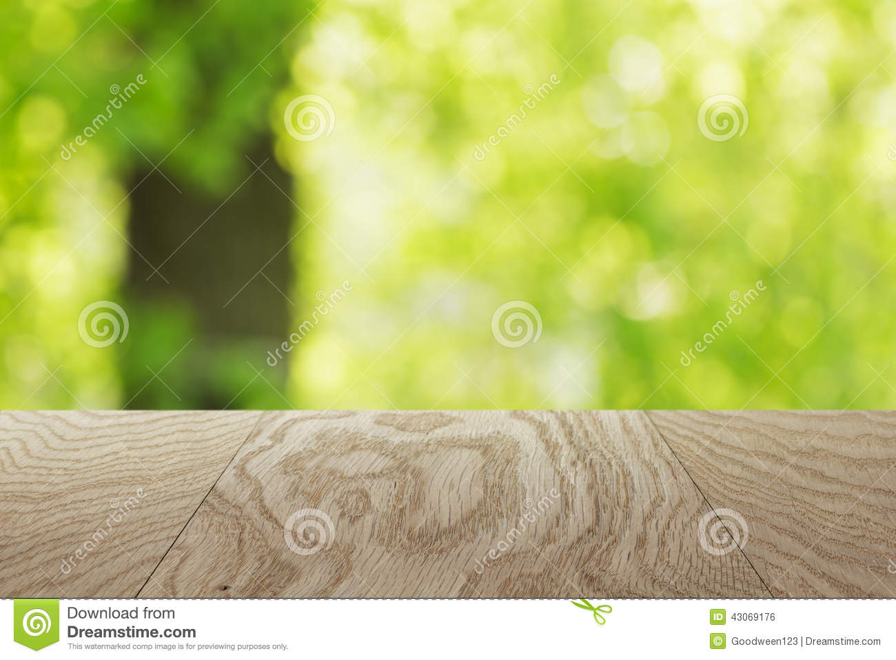 Natural Oak Table Template With Blurred Oak Tree On