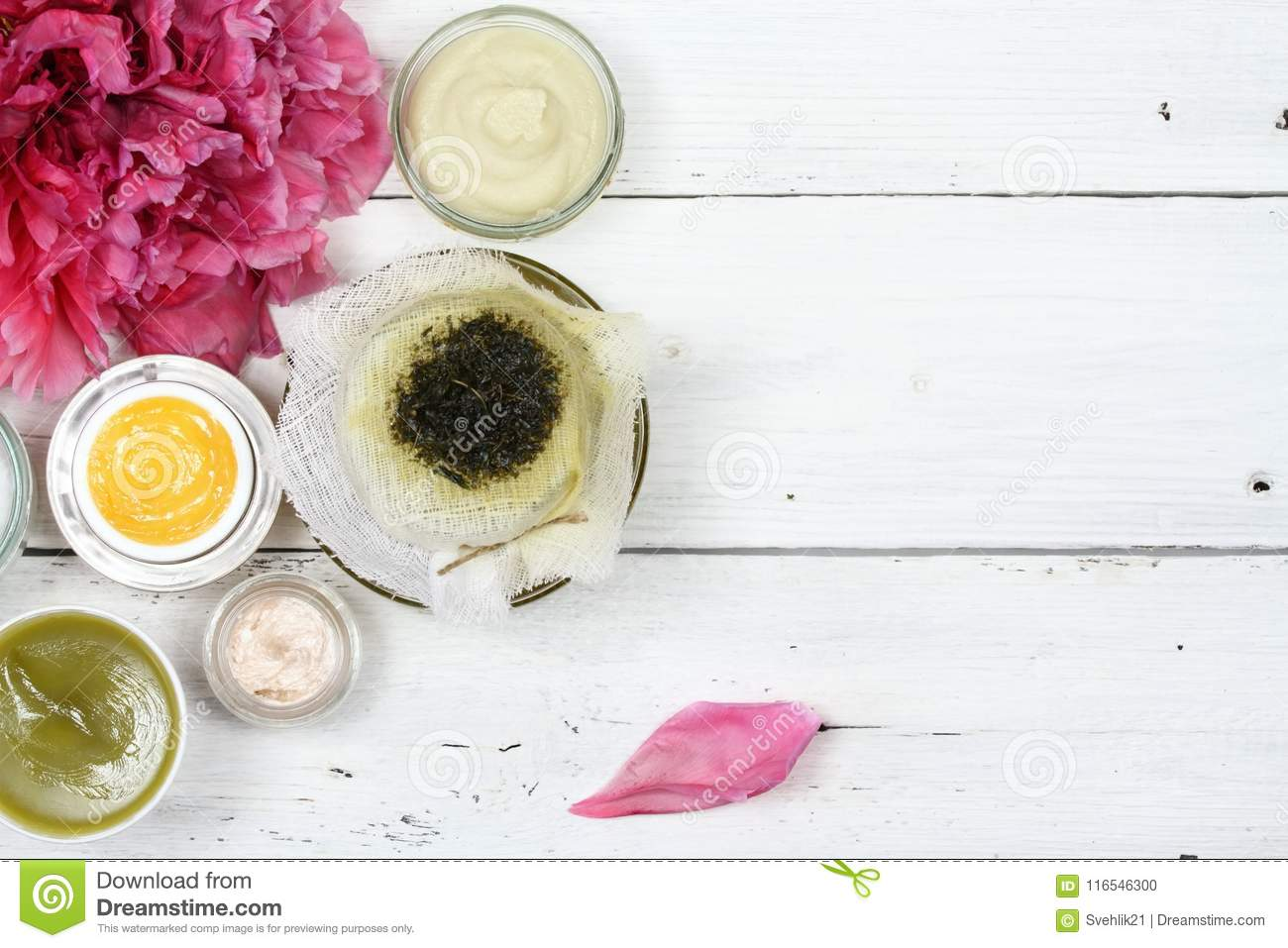 Natural Ointments For Skin Care Filtering Herbal Oil Stock Photo
