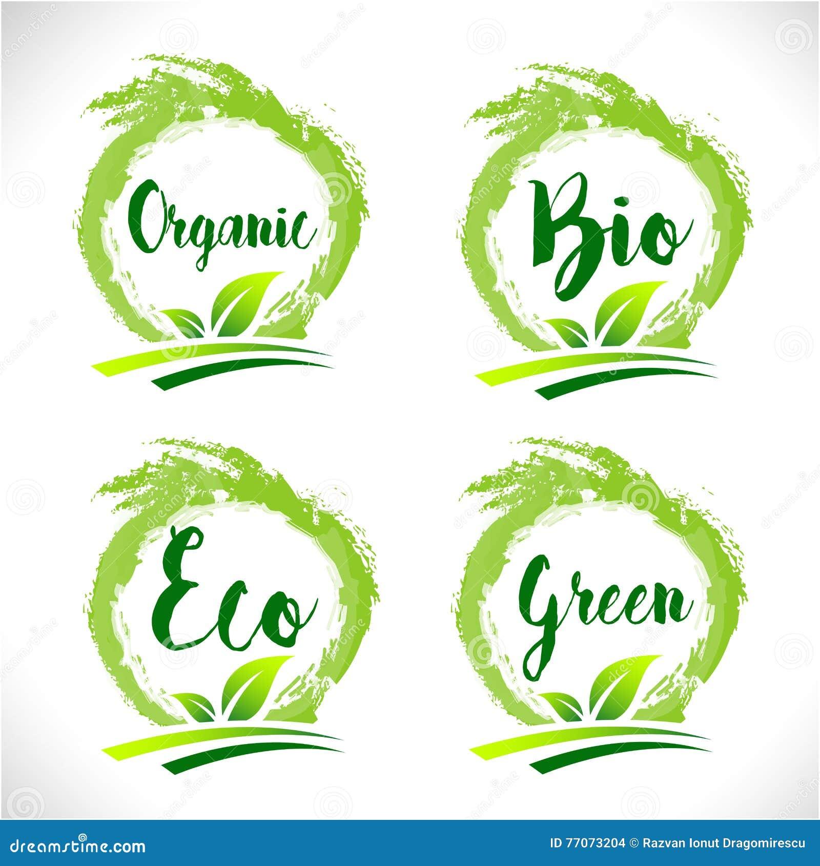 natural organic bio badge logo vector stock vector
