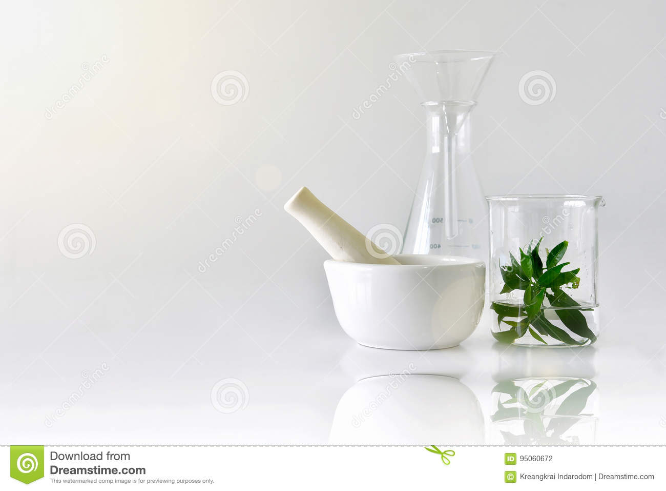 Natural organic botany and scientific glassware, Alternative herb medicine, Natural skin care beauty products.
