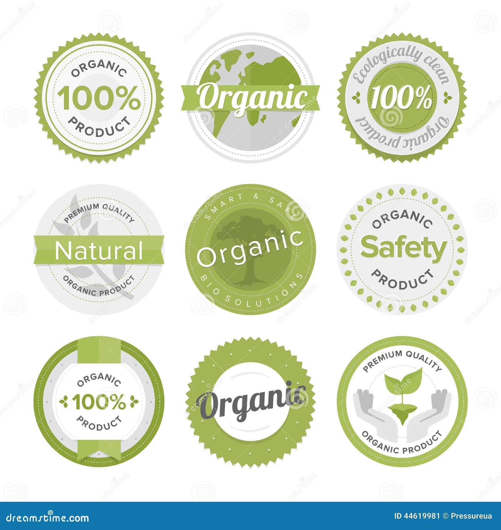 Natural Organic Product Flat Labels Set Stock Vector