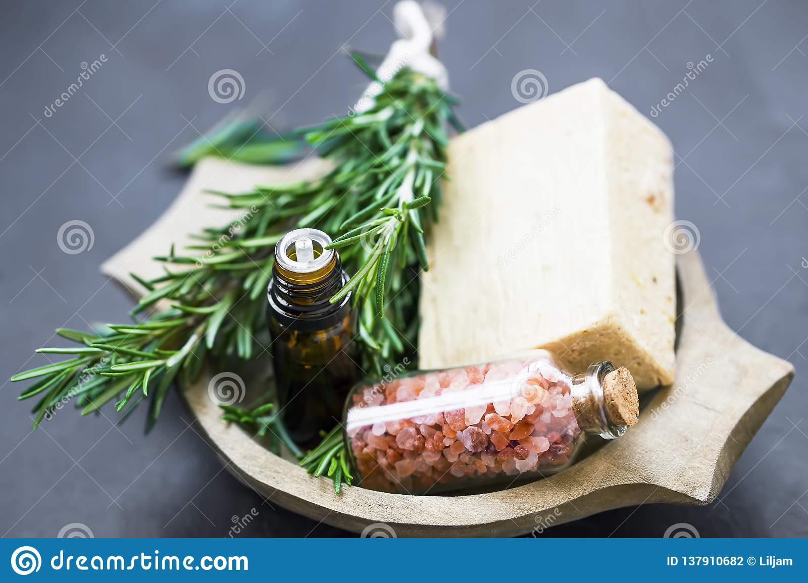 Natural Organic Skincare Ingredients With Rosemary Essential Oil Bath Salt And Natural Soap Stock Photo Image Of Flower Aroma 137910682