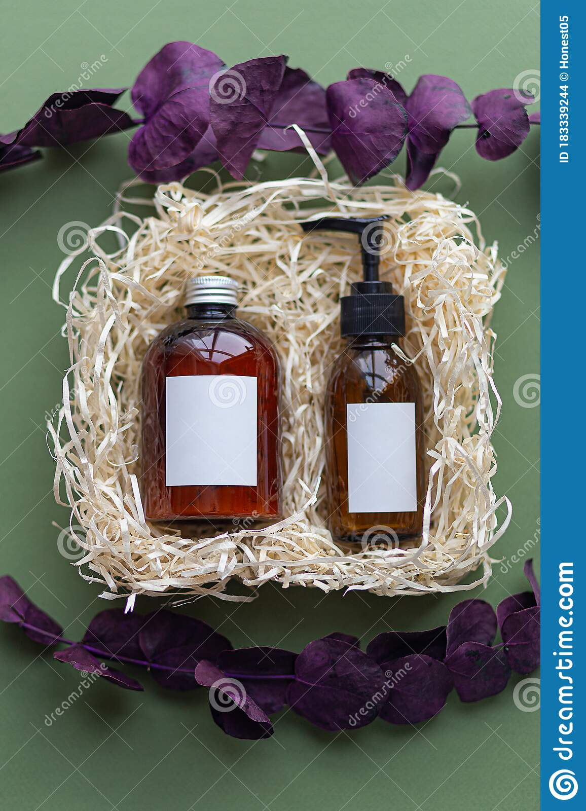 Natural Organic Spa Cosmetic Products Set With Dry Purple Leaves Top View Herbal Skincare Beauty Products On Green Background Stock Photo Image Of Packing Background 183339244