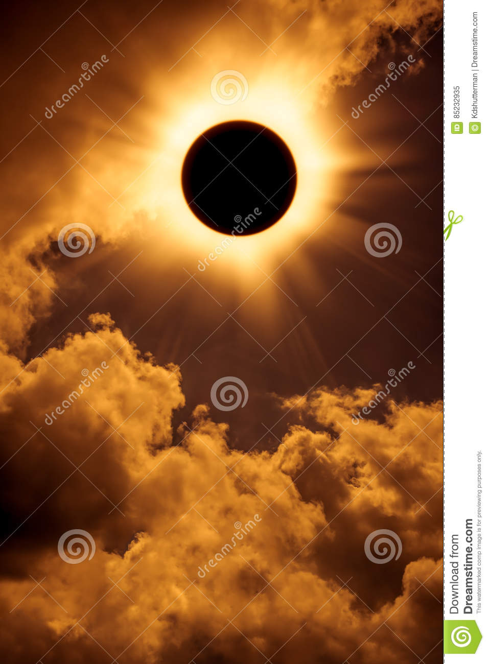 Natural phenomenon. Solar eclipse space with cloud on gold sky