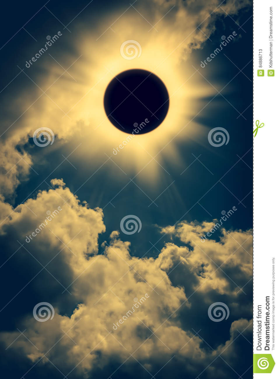Natural phenomenon. Solar eclipse space with cloud on gold sky b