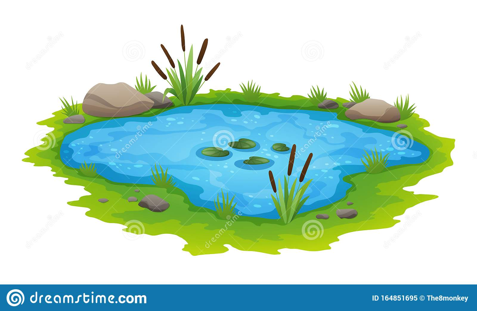 Natural Pond Outdoor Scene Small Blue Decorative Pond Isolated On White Lake Plants Nature Landscape Fishing Place Stock Vector Illustration Of Blossom Lake 164851695