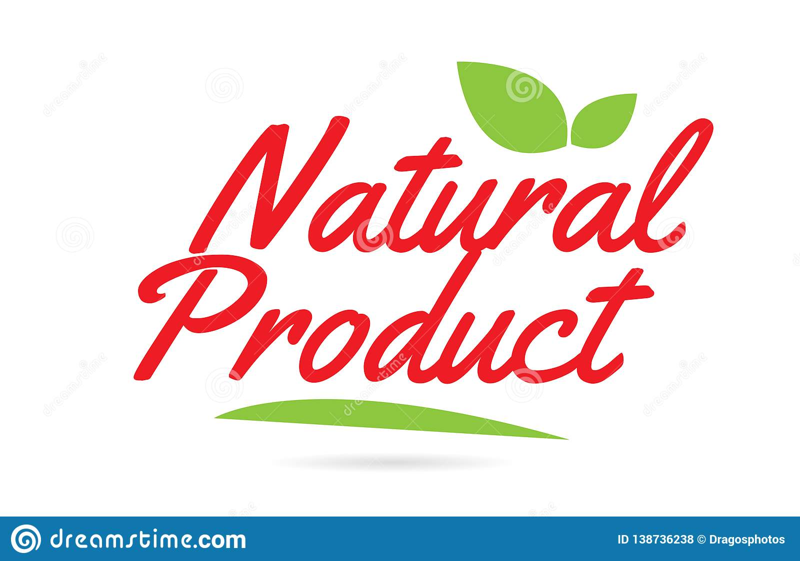 Natural Product hand written word text for typography design in red