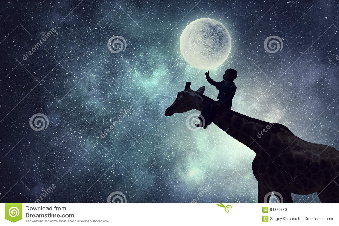 Kids at night with moon royalty free stock photography image - Royalty Free Stock Photo Natural Safari Landscape And Giraffe Stock Photo African Background Full Giraffe Kid Landscape Moon Safari Wildlife Evening